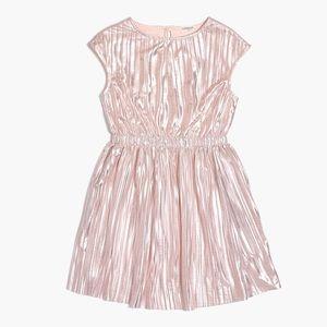 Crewcuts Girls Metallic Pink Micropleat Dress 4